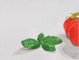 Dessin crayons de couleur feuilles basilic et tomates. Vert et rouge.