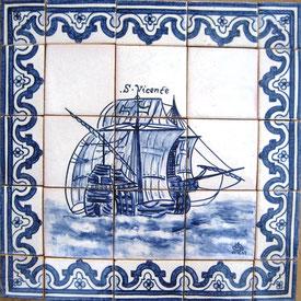 """Segler S. Vincente"" blau-weiß Art.-Nr.: PN-125, Größe: 56x56cm"