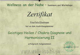 Zertifikat Geistig Heilen Chakra Diagnose Harmonisierung 2