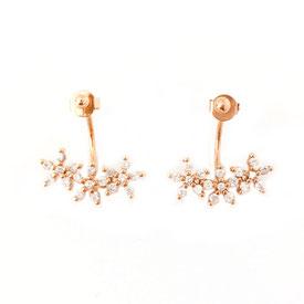 boucles d'oreilles flowers fleur diamants gwapita wapita bijoux précieux femme fleur cadeau puce doré plaqué or goldplated