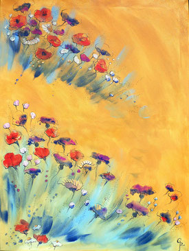 Galamos Rita Meadow flowers Mixed media Acrylic on canvas  dekoration painting Feldkirch  Malerin Vorarlberg Ungarische Designerin  Hungarian Painting