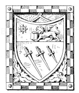 Das Wappen der Schwertfeger Venedigs. Relief an dem Haus 662 in der Spaderia dort. Ende 14. Jahrhundert.