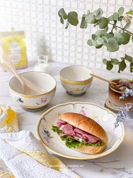 ポーセラーツ教室大阪 フレンチスタイル朝食セット