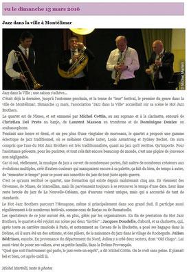 Magazine Jazz Rhône Alpes du 14 mars 2016