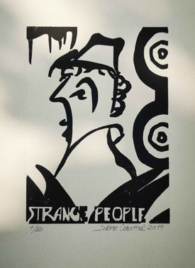 kunst, art, grafik, graphic, linolschnitt, holzschnitt, schwarze kunst, woodcut, linolcut, original, druck, print, linolprint, woodprint, linoldruck, holzdruck, papier, strange, people, strange people, komische leute, crazy, verrückt,