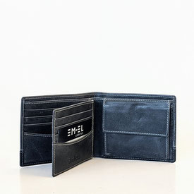 Wallet Geldbörse Portemonnaie Leder grau EM-EL Collection