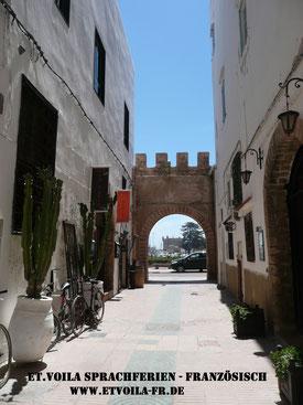 Unterrichtsort Essaouira am Atlantik. Blick aus der Altstadt zum Hafen des pittoresken UNESCO Städtchens und Surfspots.