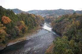 紅葉の多摩川を渡り駅に向かいます。