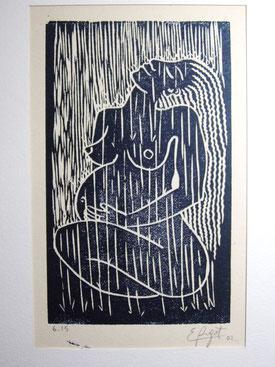 Bonheur sous la pluie. 2002. (9x15).