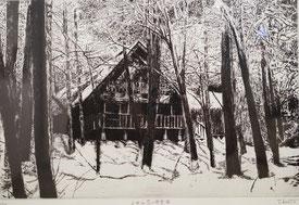 小田山荘の雪景色 (銅版画・F10)