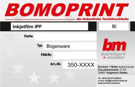 Siebdruckzubehör, Siebdruckchemie, Inkjetfilm IPF, Bogenware