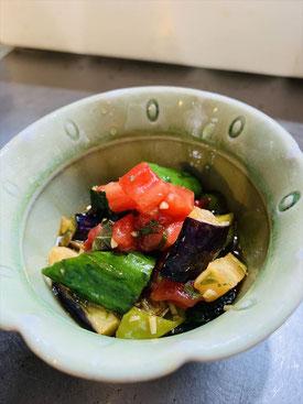 ▲夕食で提供している自家製野菜の一例(ラタトゥユ)