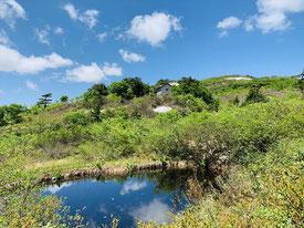 ▲鳥原小屋と池塘