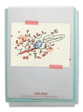 Zeichnung Vogel Zweig Tirilieren Vogelgezwitscher Gesang - Judith Ganter - Illustriertes Kopfkino für Alltagsoptimisten - Tagebuchprojekt Achtsamkeit - 9 KREATIVE IDEEN FÜR MEHR ACHTSAMKEIT IN DEINEM ALLTAG - INSPIRATION fürs TAGEBUCH