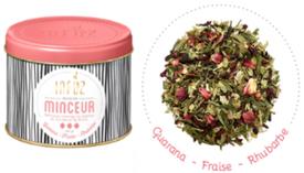"""Infusion """"Minceur"""" au mélange parfumé de la fraise, de la rhubarbe et du guarana."""
