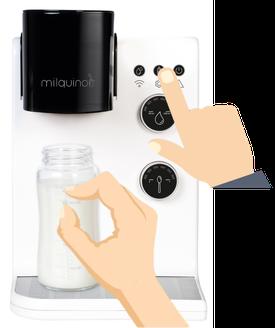 Babymilch Automat Zubereitung starten - Milquino