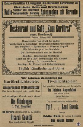 Das Tempelhofer Tivoli an der Friedrich - Karl - Straße. Kinoprogramm Seite 8.