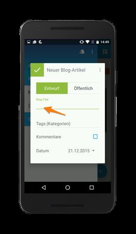 Bild: Jimdo-App Android Blog-Titel anlegen