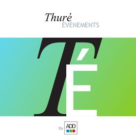 """Logo foncé sur fond blanc de la page Facebook """"Thuré Evénements"""""""
