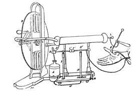 Machine électrique (B) et bouteille de Leyde (A) couplée à un électromètre de Lane