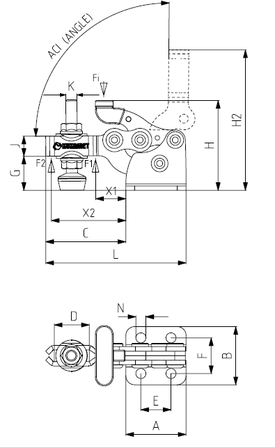 KUKAMET Kompaktspanner ohne Sicherheitsverriegelung