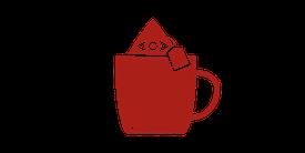 Icon eines Pyramidenbeutels in einer Tee-Tasse