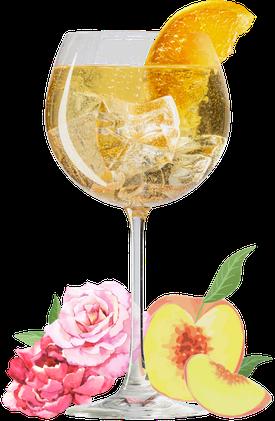 ANNA FAMOSA, aperitif, pfirsich, rosen, aperitivo, cocktail, drink, sommer drink, sommer cocktail, pfirsichlikör, roseblütten, lillet, aperol, regional, deutscher aperitif, bitter