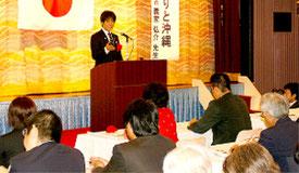 義家弘介氏が教育問題などについて講演した=29日、名護市
