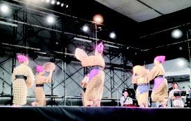 新曲「昔馬車道」を踊るあん美ら会のメンバー=18日夜、南ぬ浜町緑地公園