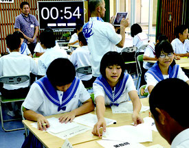 第5回科学の甲子園ジュニア八重山地区代表選考大会が行われた=15日、石垣第二中学校