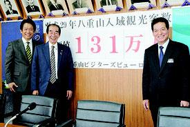 入域観光客数の目標131万人を発表するYVBの(左から)中山会長、西大舛副会長、与那国町の上地総務財政課長=3日午後、市役所