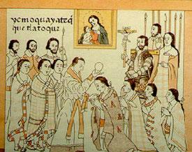 Tlatoani participant à la cérémonie du Corpus Christi. Lienzo de Tlaxcala, XVIe.