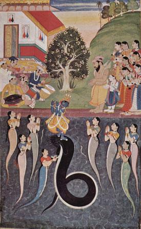 Die Frauen des Schlangenkönigs Kāliya beten um Krishnas Barmherzigkeit für ihren Gemahl, der aus Vrindavan vertrieben wird.