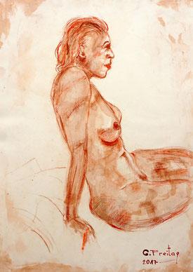 Gazmend Freitag: Sonjuschka No. 5, 2017, Kreide mit Tusche laviert, 59,4 x 42 cm