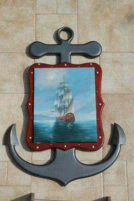 Ancre marine en bois avec cadre tableau