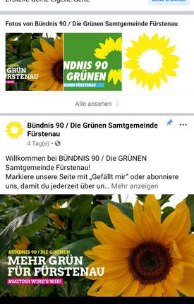 Screenshot der mobilen Facebook-Seite der GRÜNEN in der SG Fürstenau