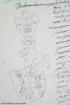 Coat of arms De Graeff as descendants of the House Von Graben,  loaned by Emperor Leopold of Austria, 19th july 1677; archiv Matthias Laurenz Gräff, Austria