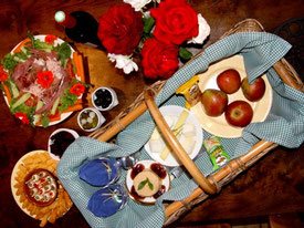 Gourmet picnic basket at French castle B&B