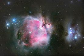 Der Orionnebel ist durch das Teleskop klar zu sehen. (Foto: Bruno Mattern)