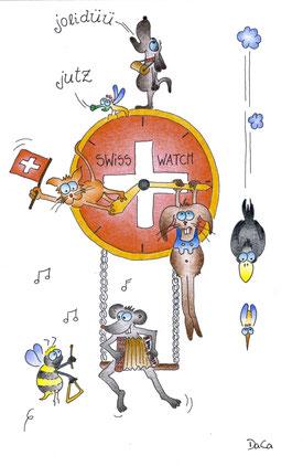 Grusskarte Swissness Swiss Watch Uhr mit vielen Tieren dran und drauf