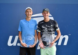 Andrew Paulson (rechts) unterlag  knapp im Doppel der US Open Junior mit Alexander Zgirovsky im Finale