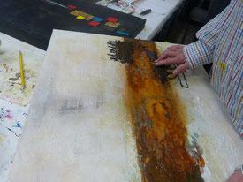 Acrylfarben, Asche mit Acrylfarben vermischt, Rosteffekte im Bild