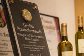 Gold Prämierung für Edelbrände und Weine aus der Pfalz - Weingut Hubert Müller Maikammer