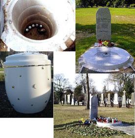 Ein Sarg sollte bei einem unkremierten Begräbnis am Fussende beschriftet werden mit dem Namen und Begräbnisdaten des Verstorbenen und mit dem Namen des Bestatters.