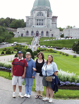 A group standing in front of St. Joseph's Oratory in Montreal