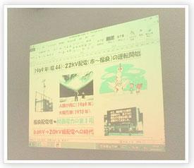 プロジェクターで壁に投影された資料