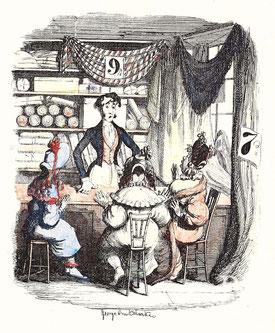 IMA.19.005 »Linen Draper« (Tuchhändler) (Handkolorierte Illustration von George Cruikshank, um 1840) / © Sammlung PRISARD