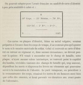 Première évocation d'une plaque d'identité militaire - traité d'hygiène de G. Morache 1874