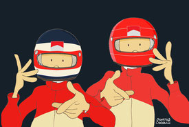 Barrichello & Schumacher by Muneta & Cerracín