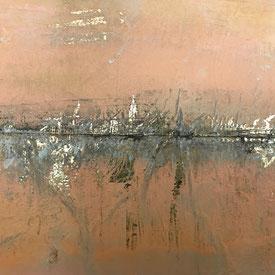 Abstraktes Skyline City auf Goldfolie mit colour shaper ausgekratzt